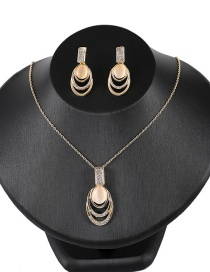 Fashion Yellow Oval Shape Design Hollow Out Jewelry Sets