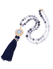 Fashion Dark Blue Tassel&gemstone Decorated Long Necklace