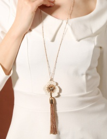 Fashion White Flower&tassel Decorated Long Necklace