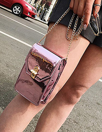 Fashion Pink Pure Color Design Shoulder Bag