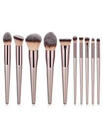 Trendy Champagne Multiple Shapes Design Cosmetic Brush(10pcs)