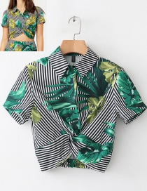 Fashion Green+white Leaf Pattern Decorated Short Sleeves Blouse