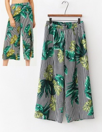 Fashion Green+white Leaf Pattern Decorated Wide-legs Pants
