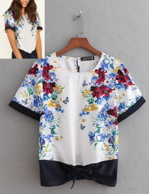 Fashion White Round Neckline Design Short Sleeves Shirt