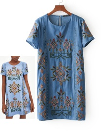 Fashion Blue Embroidery Flower Decorated Round Neckline Dress