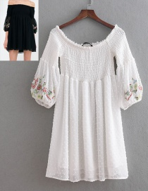 Fashion White Embroidery Design Short Sleeves Dress