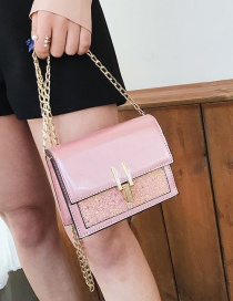 Fashion Pink Sequins Decorated Square Shape Bag