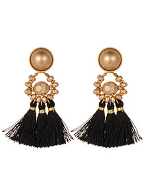 Fashion Black Beads Decorated Tassel Earrings