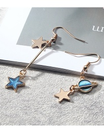 Fashion Blue Star Shape Pendant Decorated Long Earrings