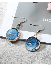 Fashion Blue Round Shape Pendant Decorated Earrings