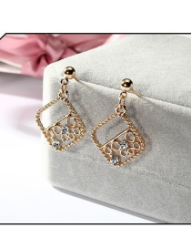 Fashion Gold Color Square Shape Design Hollow Out Earrings