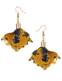 Fashion Yellow Flowers Pendant Decorated Earrings
