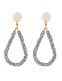 Fashion Beige Full Diamond Decorated Hollow Out Earrings