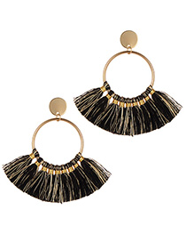 Fashion Black+gold Color Tassel Decorated Circular Ring Earrings