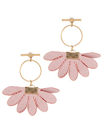 Fashion Pink Flowers Decorated Circular Ring Earrings