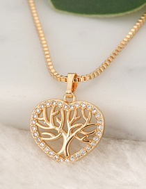Fashion Gold Color Hollow Out Tree Pendant Decorated Necklace