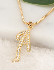 Fashion Gold Color Letter A Pendant Decorated Necklace