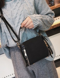Fashion Black Double Zippers Decorated Pure Color Bag
