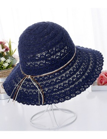 Fashion Navy Hollow Out Design Pure Color Hat
