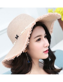 Fashion Light Pink Pearl Decorated Hat