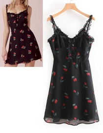 Fashion Black Cherry Pattern Decorated Suspender Dress