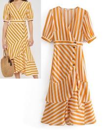 Fashion Yellow V Neckline Design Stripe Pattern Decorated Dress