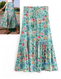Fashion Green Flower Pattern Decorated Dress