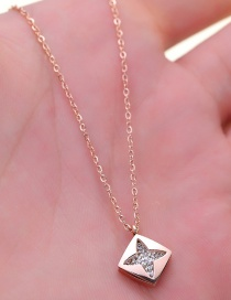 Fashion Rose Gold Square Shape Decorated Necklace