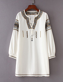 Fashion White Tassel Decorated Long Sleeves Dress