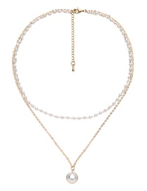 Elegant Gold Color Double Layer Design Pearl Decorated Necklace