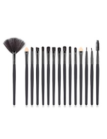 Fashion Black Geometric Shape Design Eye Shadow Brush(15pcs)