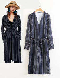 Fashion Navy Stripe Pattern Decorated V Neckline Windbreaker