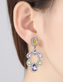 Fashion Yellow+purple Water Drop Shape Diamond Decorated Earrings