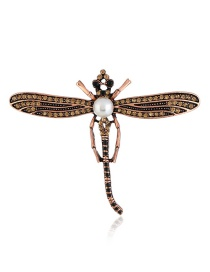 Fashion Gold Color Dragonfly Shape Design Brooch