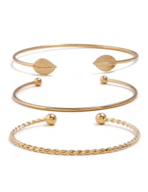 Fashion Gold Color Leaf Shape Decorated Bracelets(3pcs)