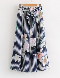 Fashion Blue Flower Pattern Decorated Stripe Pants