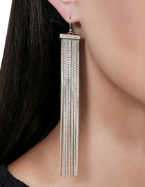 Fashion Silver Color Long Tassel Decorated Pure Color Earrings