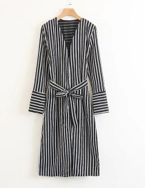 Fashion Black Stripe Pattern Decorated Coat