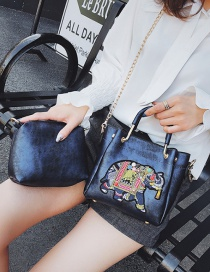Fashion Blue Elephant Shape Decorated Shoulder Bag (2 Pcs )