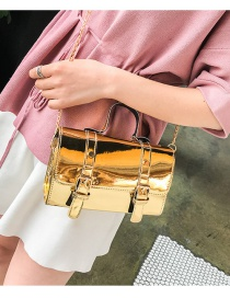 Fashion Gold Color Square Shape Decorated Shoulder Bag