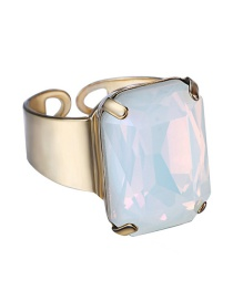 Fashion White Square Shape Decorated Opening Ring