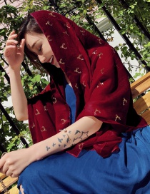Fashion Claret Red Antler Pattern Decorated Dual-use Scarf