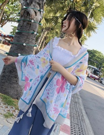 Fashion Multi-color Flower Pattern Decorated Dual-use Scarf