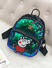 Lovely Green Peppa Pig Pattern Decorated Backpack