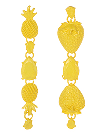 Fashion Yellow Strawberry Shape Decorated Earrings