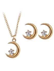 Fashion Gold Color Moon Shape Decorated Earrings (6 Pcs )