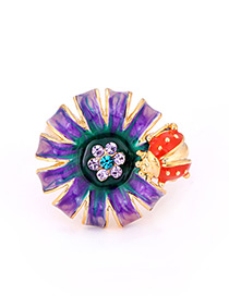 Fashion Purple Flower Shape Decorated Ring