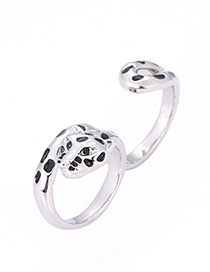 Fashion Silver Color+black Leopard Shape Decorated Ring