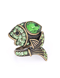 Fashion Green Fish Shape Decorated Ring