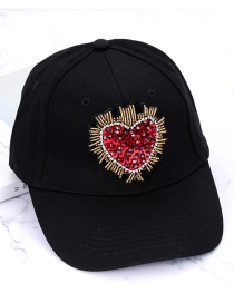 Fashion Black Heart Shape Decorated Baseball Cap